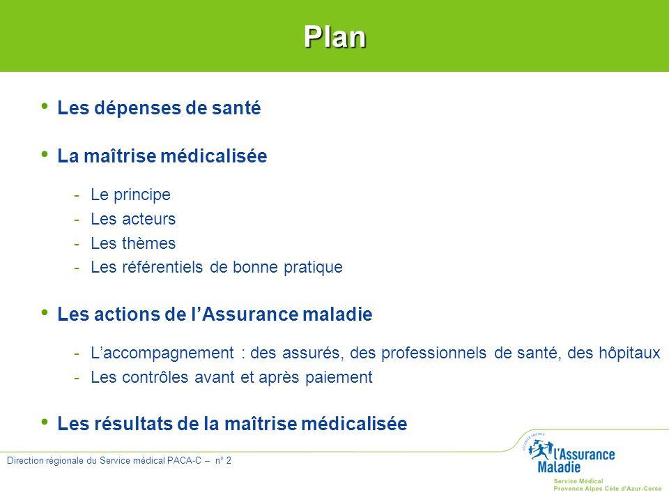 Direction régionale du Service médical PACA-C – n° 2 Les dépenses de santé La maîtrise médicalisée -Le principe -Les acteurs -Les thèmes -Les référent