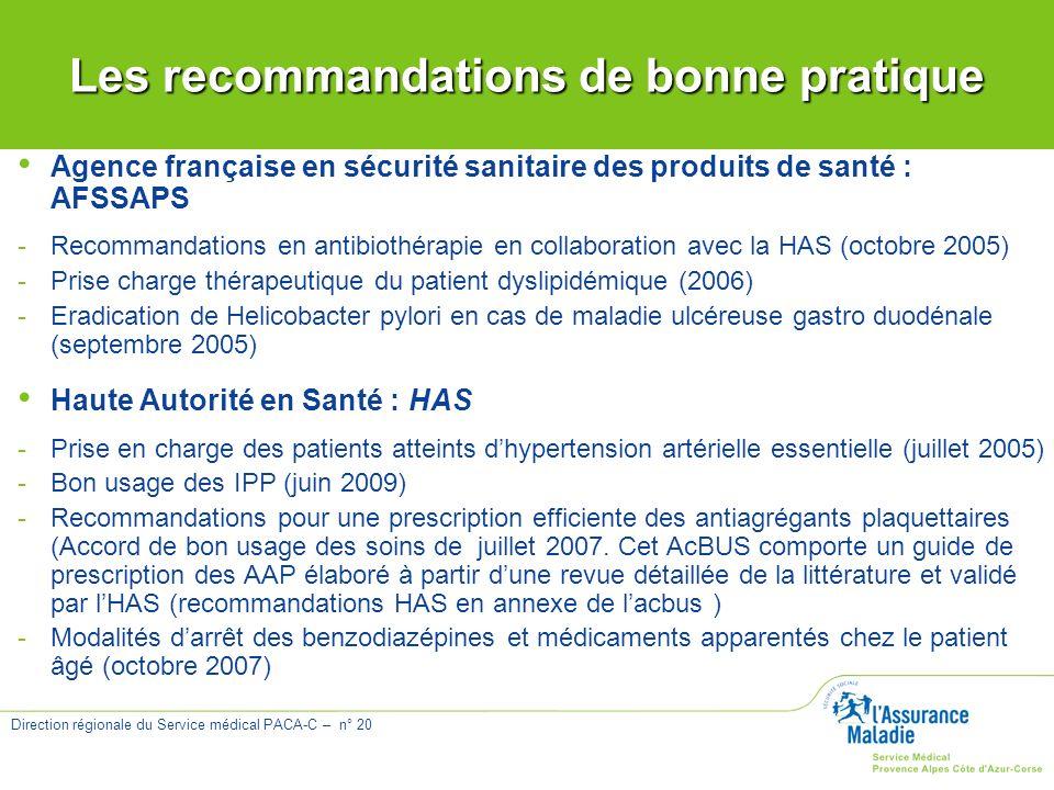 Direction régionale du Service médical PACA-C – n° 20 Agence française en sécurité sanitaire des produits de santé : AFSSAPS -Recommandations en antib