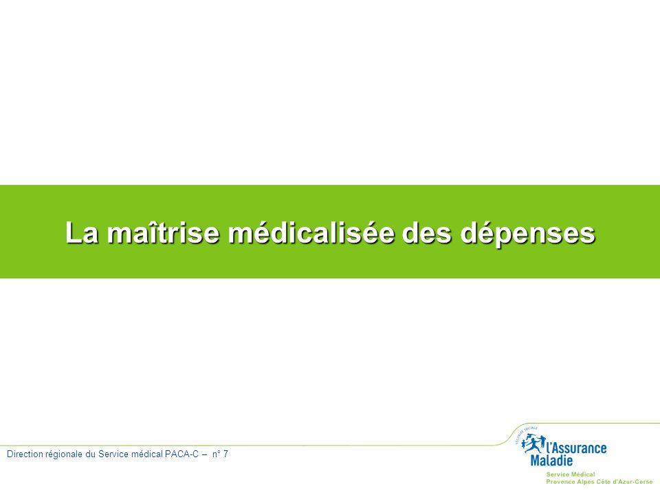 Direction régionale du Service médical PACA-C – n° 7 La maîtrise médicalisée des dépenses