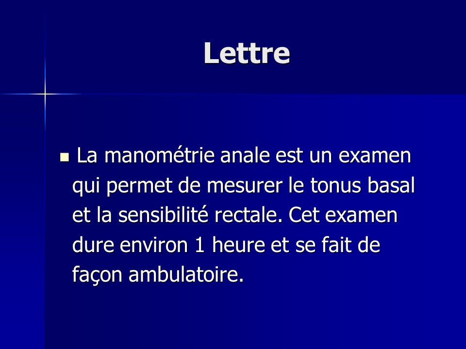 Lettre Pour cet examen une sonde souple de Pour cet examen une sonde souple de petit calibre doit être introduite dans petit calibre doit être introduite dans lanus.