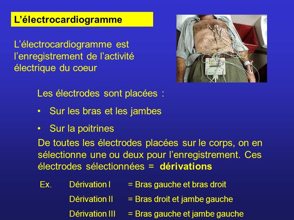 Lélectrocardiogramme Les électrodes sont placées : Sur les bras et les jambes Sur la poitrines De toutes les électrodes placées sur le corps, on en sé