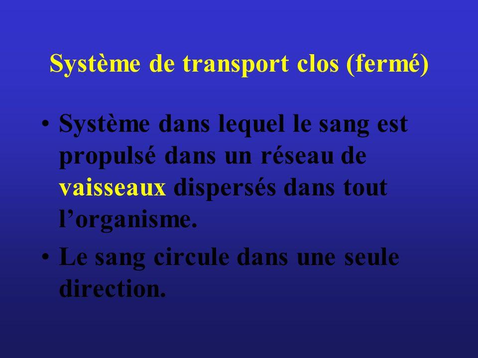 Système de transport clos (fermé) Système dans lequel le sang est propulsé dans un réseau de vaisseaux dispersés dans tout lorganisme. Le sang circule