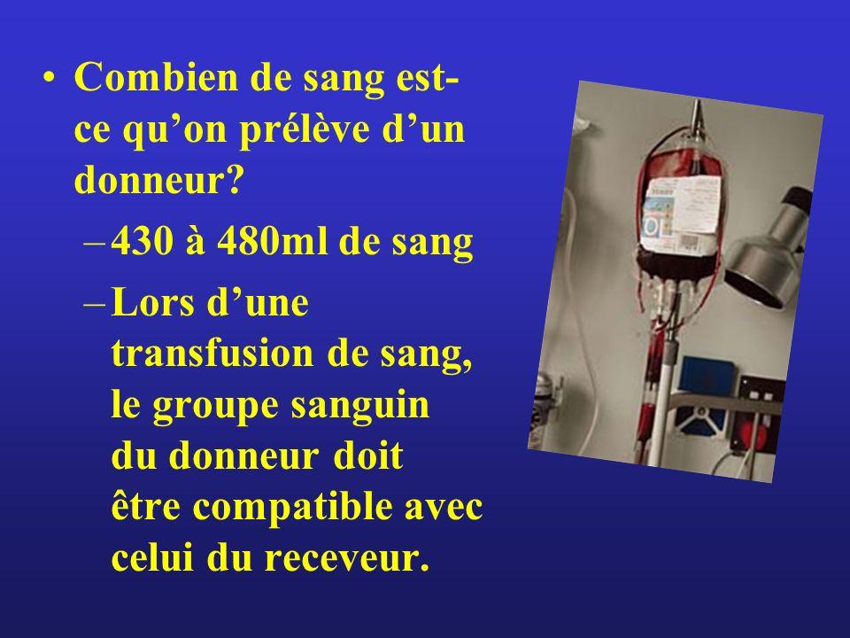 Combien de sang est- ce quon prélève dun donneur? –430 à 480ml de sang –Lors dune transfusion de sang, le groupe sanguin du donneur doit être compatib