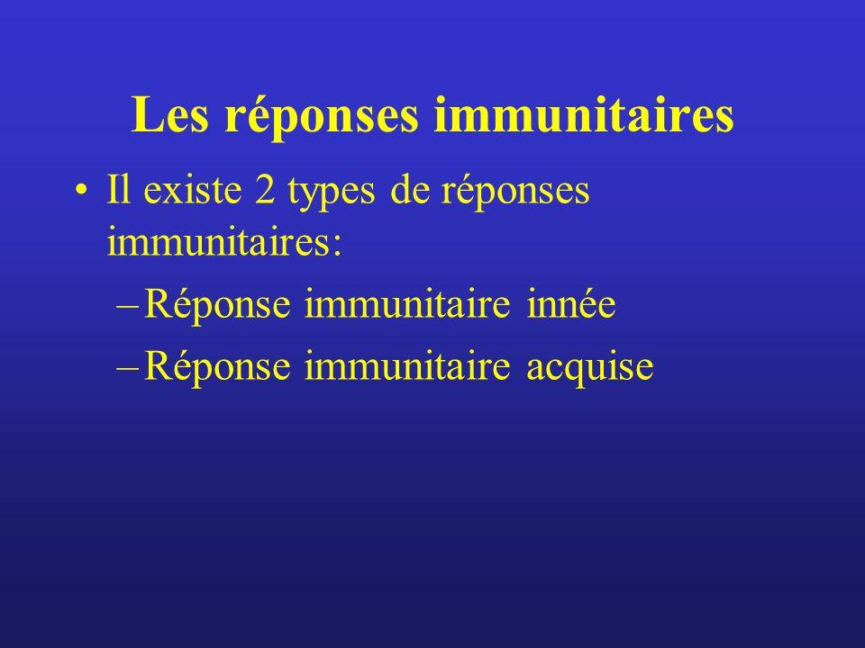 Les réponses immunitaires Il existe 2 types de réponses immunitaires: –Réponse immunitaire innée –Réponse immunitaire acquise