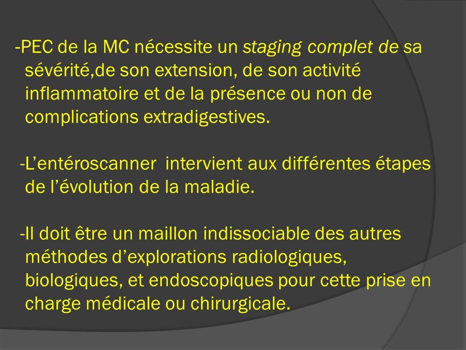-PEC de la MC nécessite un staging complet de sa sévérité,de son extension, de son activité inflammatoire et de la présence ou non de complications ex
