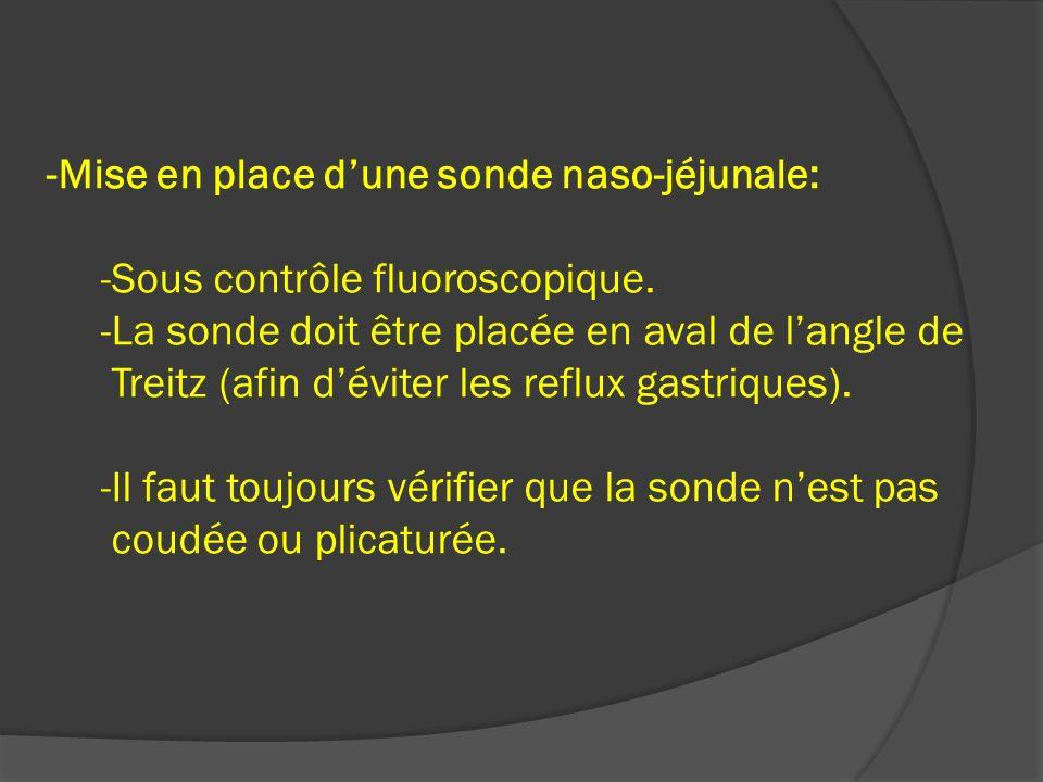 -Mise en place dune sonde naso-jéjunale: -Sous contrôle fluoroscopique. -La sonde doit être placée en aval de langle de Treitz (afin déviter les reflu
