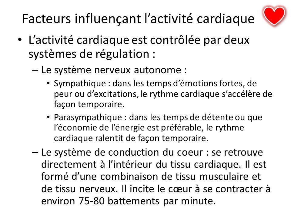 Facteurs influençant lactivité cardiaque Lactivité cardiaque est contrôlée par deux systèmes de régulation : – Le système nerveux autonome : Sympathiq