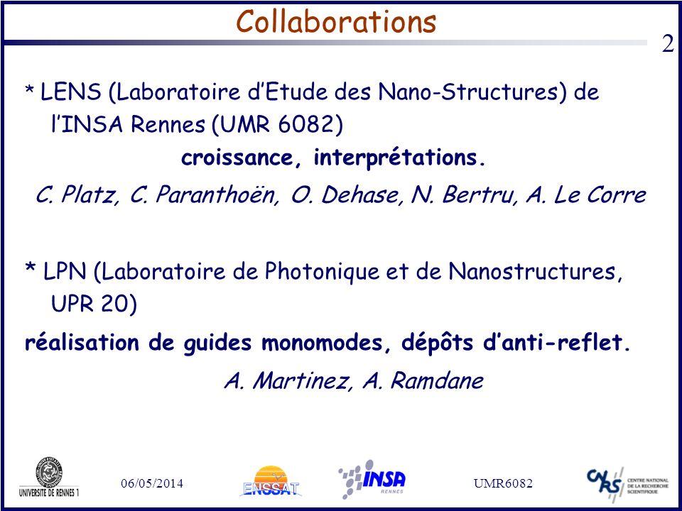 06/05/2014UMR6082 2 Collaborations * LENS (Laboratoire dEtude des Nano-Structures) de lINSA Rennes (UMR 6082) croissance, interprétations. C. Platz, C