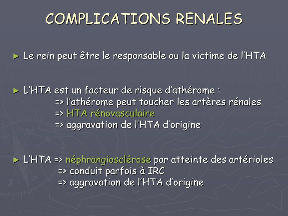 COMPLICATIONS RENALES Le rein peut être le responsable ou la victime de lHTA Le rein peut être le responsable ou la victime de lHTA LHTA est un facteur de risque dathérome : LHTA est un facteur de risque dathérome : => lathérome peut toucher les artères rénales => lathérome peut toucher les artères rénales => HTA rénovasculaire => HTA rénovasculaire => aggravation de lHTA dorigine => aggravation de lHTA dorigine LHTA => néphrangiosclérose par atteinte des artérioles LHTA => néphrangiosclérose par atteinte des artérioles => conduit parfois à IRC => conduit parfois à IRC => aggravation de lHTA dorigine => aggravation de lHTA dorigine