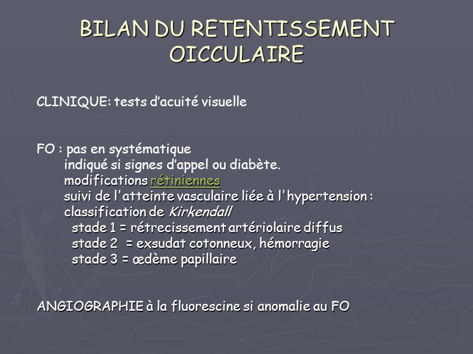 BILAN DU RETENTISSEMENT OICCULAIRE CLINIQUE: tests dacuité visuelle FO : pas en systématique indiqué si signes dappel ou diabète. modifications rétini