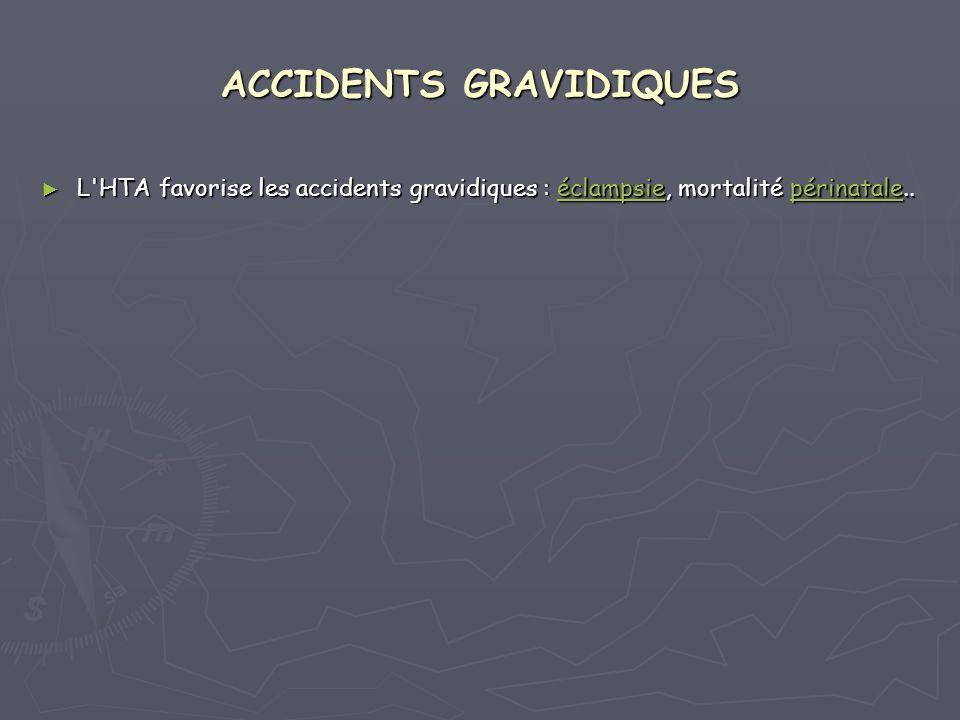 ACCIDENTS GRAVIDIQUES L'HTA favorise les accidents gravidiques : éclampsie, mortalité périnatale.. L'HTA favorise les accidents gravidiques : éclampsi