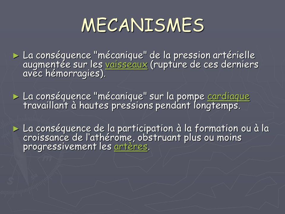 MECANISMES La conséquence mécanique de la pression artérielle augmentée sur les vaisseaux (rupture de ces derniers avec hémorragies).
