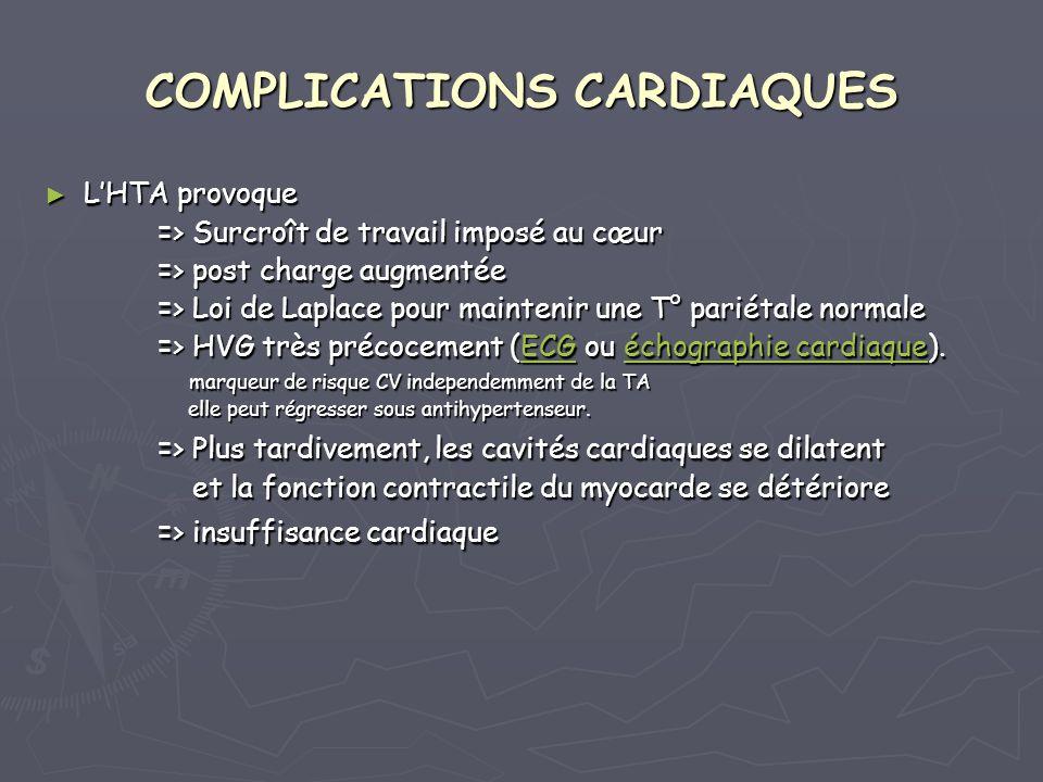 COMPLICATIONS CARDIAQUES LHTA provoque LHTA provoque => Surcroît de travail imposé au cœur => Surcroît de travail imposé au cœur => post charge augmentée => post charge augmentée => Loi de Laplace pour maintenir une T° pariétale normale => Loi de Laplace pour maintenir une T° pariétale normale => HVG très précocement (ECG ou échographie cardiaque).