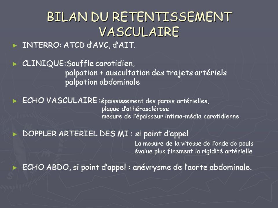 BILAN DU RETENTISSEMENT VASCULAIRE INTERRO: ATCD dAVC, dAIT. CLINIQUE:Souffle carotidien, palpation + auscultation des trajets artériels palpation abd