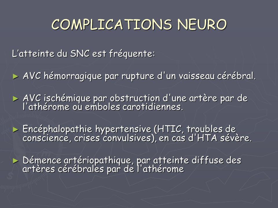 BILAN DU RETENTISSEMENT NEURO INTERRO: ATCD dAVC ischémique ou hémorragique INTERRO: ATCD dAVC ischémique ou hémorragique CLINIQUE: Signes neurosensoriels ssi HTA sévère CLINIQUE: Signes neurosensoriels ssi HTA sévère = phosphène, acouphène, céphalées matinales, = phosphène, acouphène, céphalées matinales, sensation vertigineuse, paresthésie des extrémités.