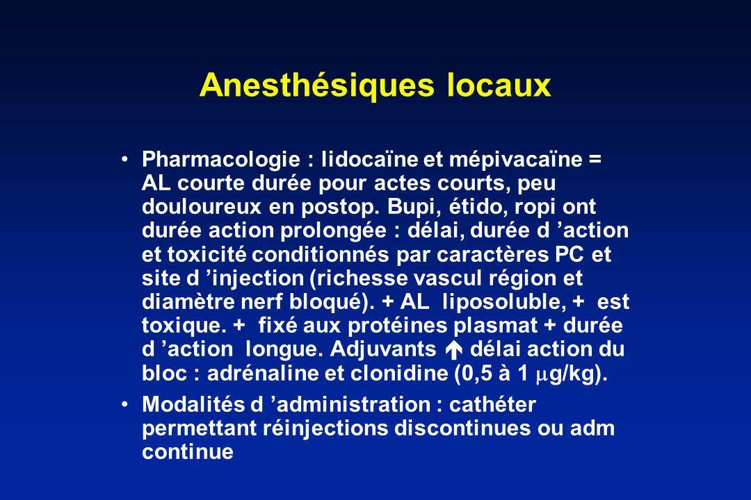 Anesthésiques locaux Pharmacologie : lidocaïne et mépivacaïne = AL courte durée pour actes courts, peu douloureux en postop. Bupi, étido, ropi ont dur