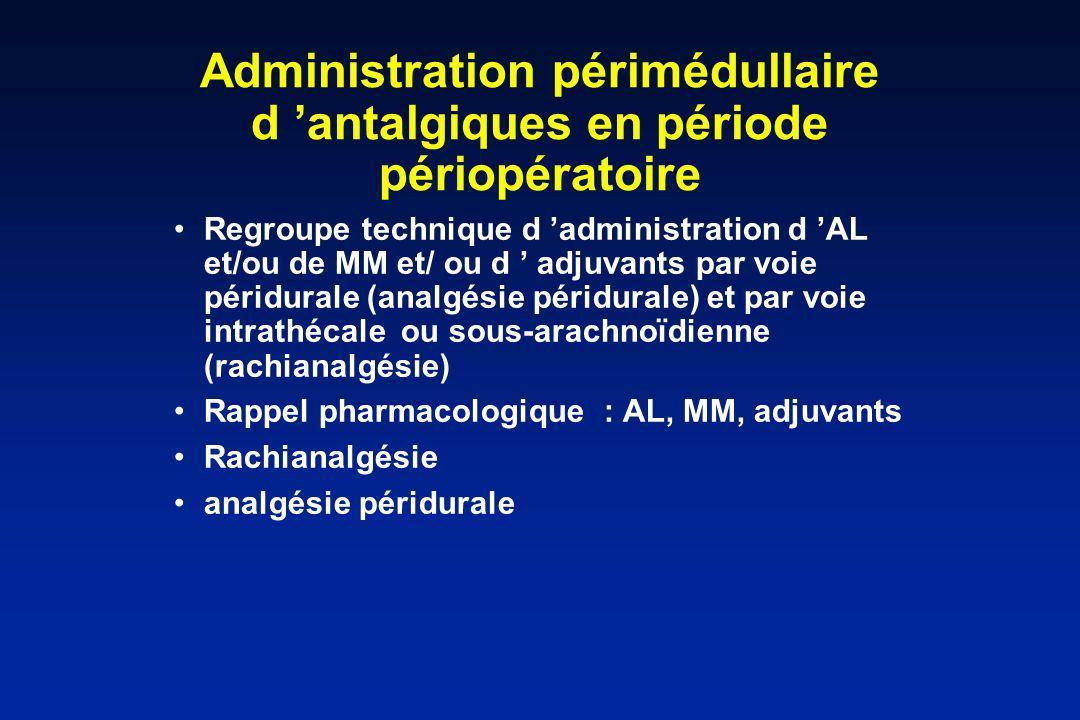 Administration périmédullaire d antalgiques en période périopératoire Regroupe technique d administration d AL et/ou de MM et/ ou d adjuvants par voie