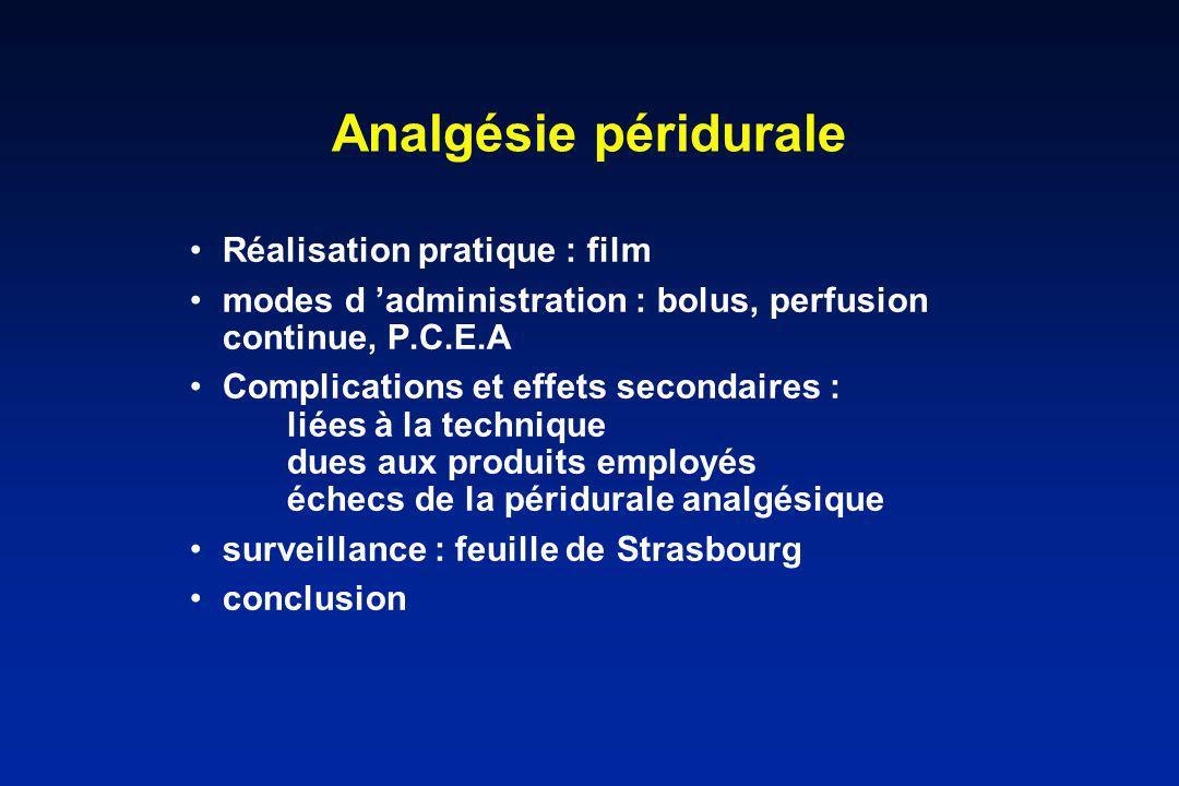 Analgésie péridurale Réalisation pratique : film modes d administration : bolus, perfusion continue, P.C.E.A Complications et effets secondaires : lié