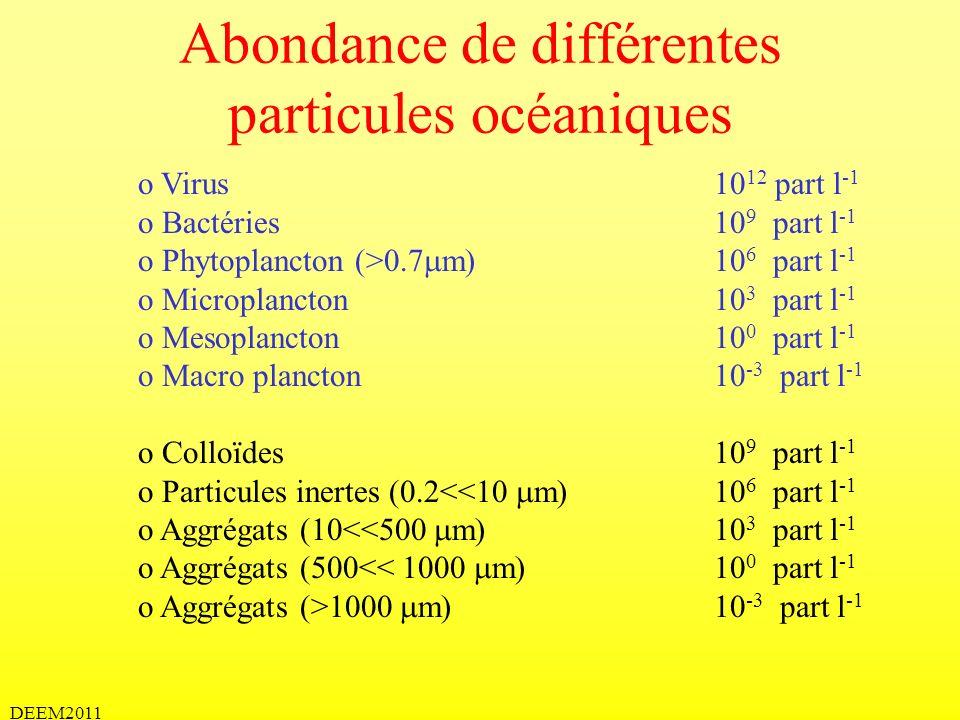 DEEM2011 Abondance de différentes particules océaniques o Virus 10 12 part l -1 o Bactéries10 9 part l -1 o Phytoplancton (>0.7 m) 10 6 part l -1 o Mi
