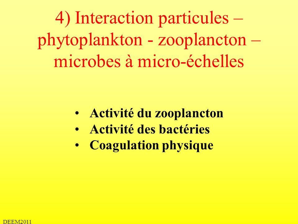DEEM2011 4) Interaction particules – phytoplankton - zooplancton – microbes à micro-échelles Activité du zooplancton Activité des bactéries Coagulatio