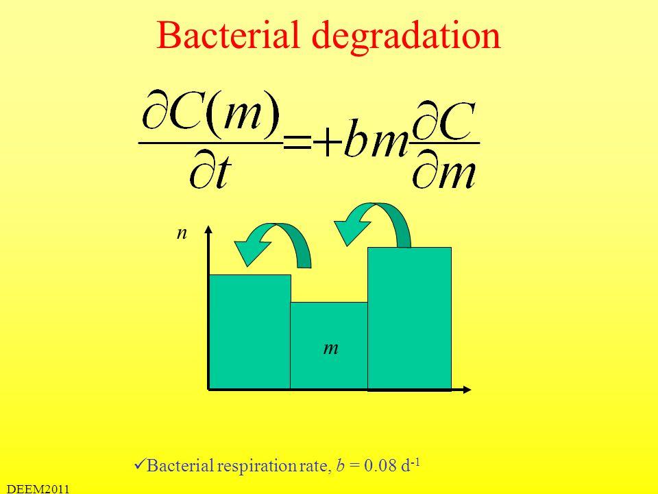 DEEM2011 Bacterial degradation Bacterial respiration rate, b = 0.08 d -1 m n