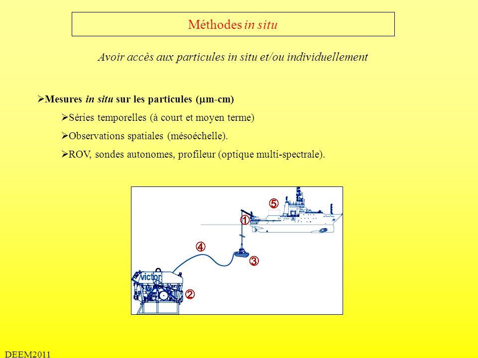 DEEM2011 Méthodes in situ Mesures in situ sur les particules ( m-cm) Séries temporelles (à court et moyen terme) Observations spatiales (mésoéchelle).