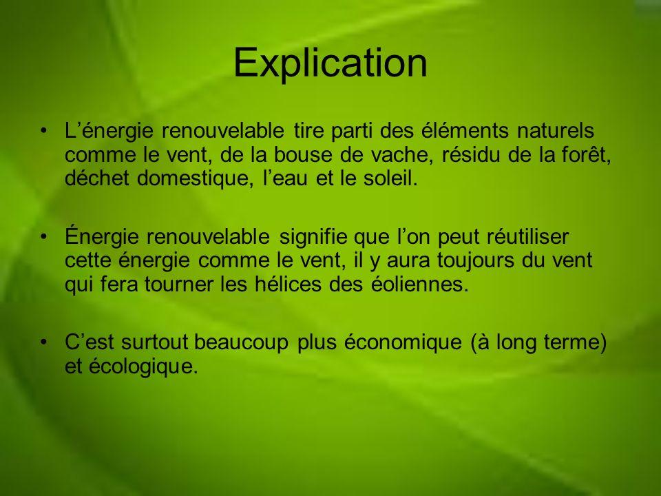 Explication Lénergie renouvelable tire parti des éléments naturels comme le vent, de la bouse de vache, résidu de la forêt, déchet domestique, leau et