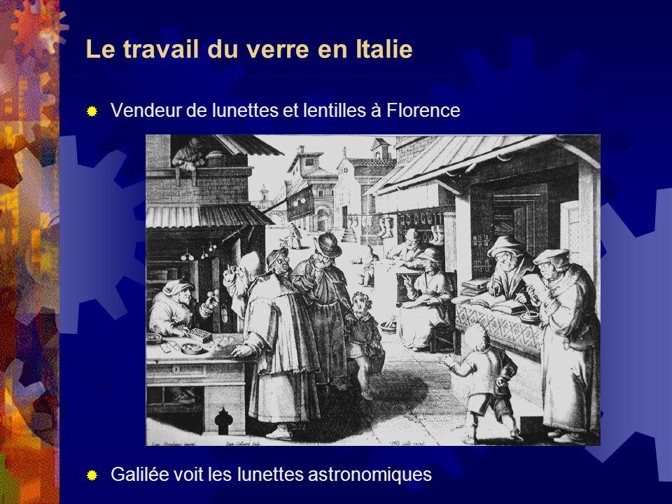 Le travail du verre en Italie Vendeur de lunettes et lentilles à Florence Galilée voit les lunettes astronomiques