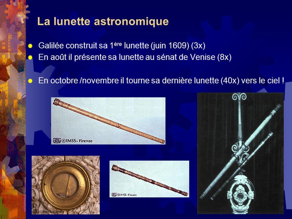 La lunette astronomique Galilée construit sa 1 ère lunette (juin 1609) (3x) En août il présente sa lunette au sénat de Venise (8x) En octobre /novembr