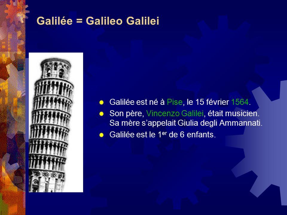 Galilée = Galileo Galilei Galilée est né à Pise, le 15 février 1564. Son père, Vincenzo Galilei, était musicien. Sa mère sappelait Giulia degli Ammann