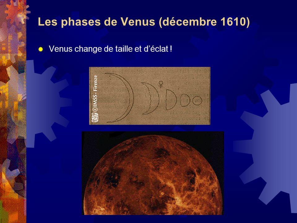 Les phases de Venus (décembre 1610) Venus change de taille et déclat !