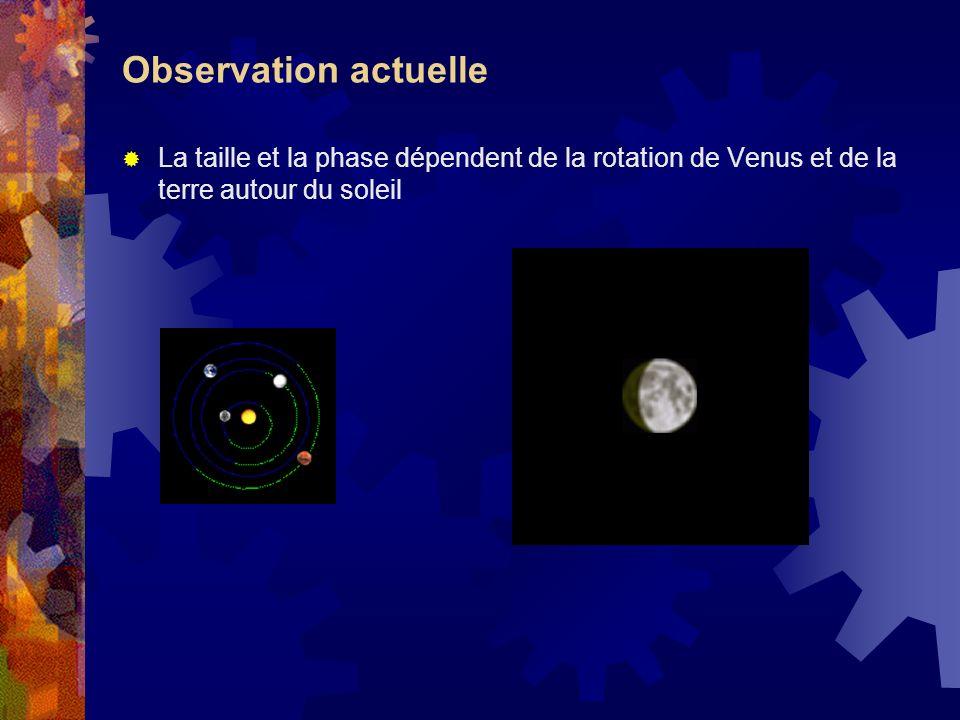 Observation actuelle La taille et la phase dépendent de la rotation de Venus et de la terre autour du soleil