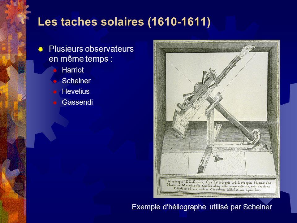 Les taches solaires (1610-1611) Plusieurs observateurs en même temps : Harriot Scheiner Hevelius Gassendi Exemple dhéliographe utilisé par Scheiner