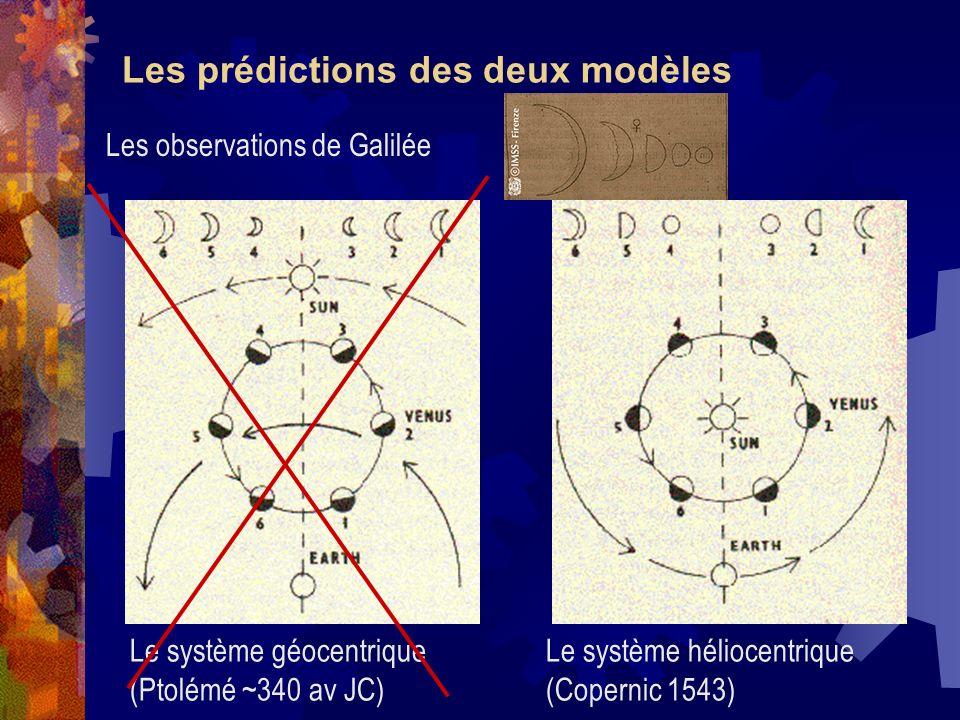 Les prédictions des deux modèles Le système géocentrique (Ptolémé ~340 av JC) Le système héliocentrique (Copernic 1543) Les observations de Galilée