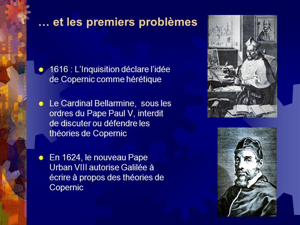 … et les premiers problèmes 1616 : LInquisition déclare lidée de Copernic comme hérétique Le Cardinal Bellarmine, sous les ordres du Pape Paul V, inte