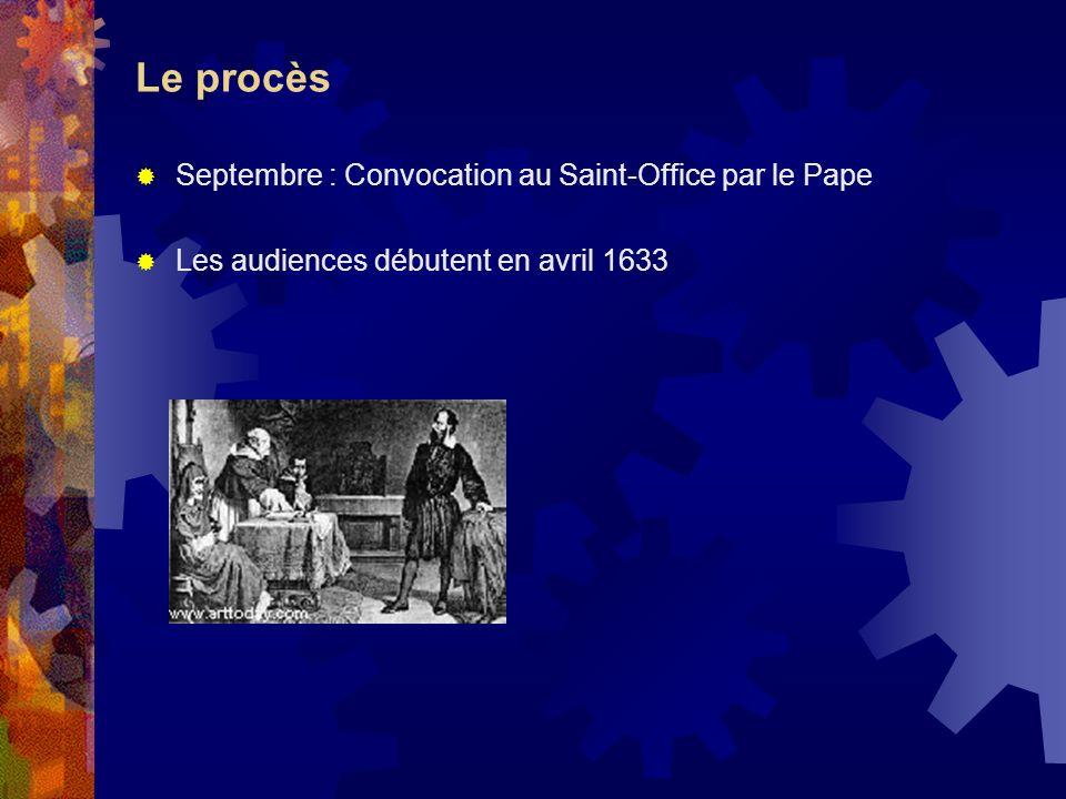 Le procès Septembre : Convocation au Saint-Office par le Pape Les audiences débutent en avril 1633