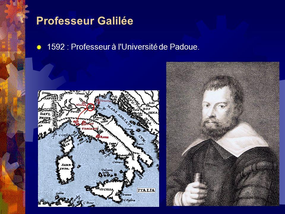 Professeur Galilée 1592 : Professeur à l'Université de Padoue.