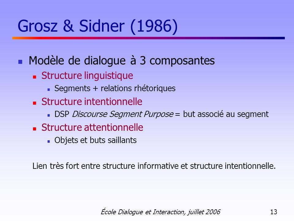 École Dialogue et Interaction, juillet 2006 13 Grosz & Sidner (1986) Modèle de dialogue à 3 composantes Structure linguistique Segments + relations rh