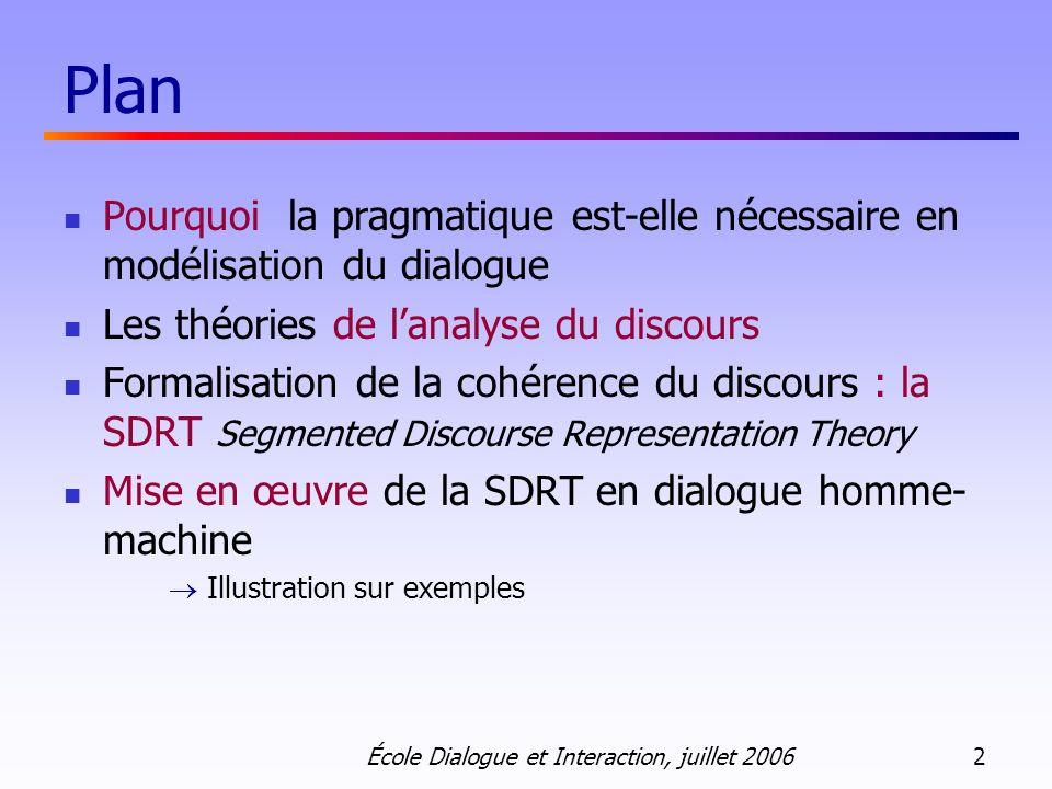 École Dialogue et Interaction, juillet 2006 2 Plan Pourquoi la pragmatique est-elle nécessaire en modélisation du dialogue Les théories de lanalyse du