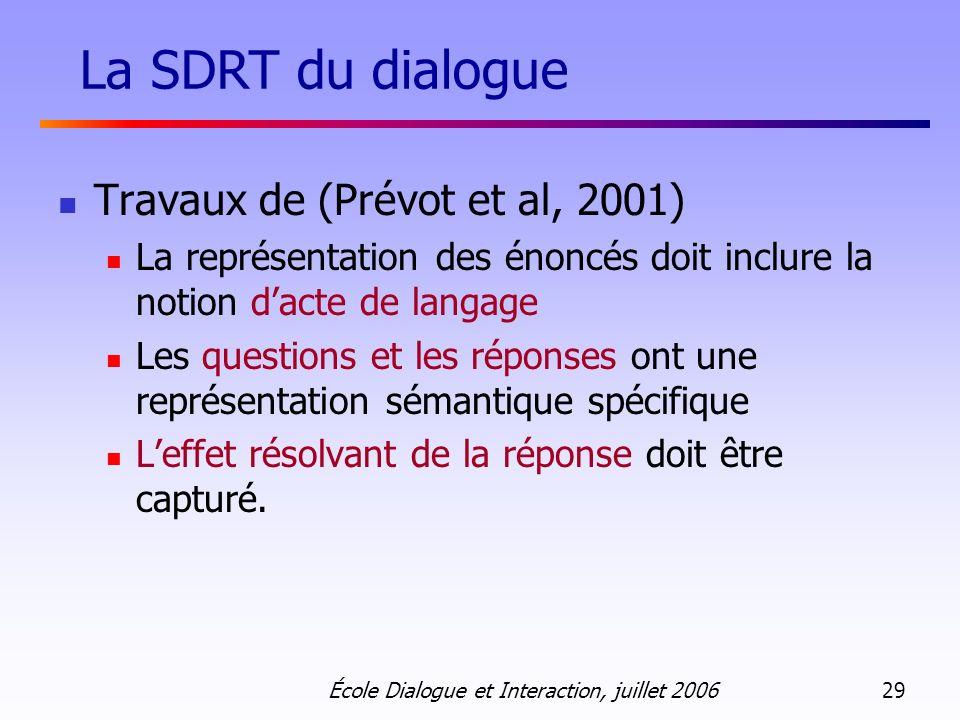École Dialogue et Interaction, juillet 2006 29 Travaux de (Prévot et al, 2001) La représentation des énoncés doit inclure la notion dacte de langage L