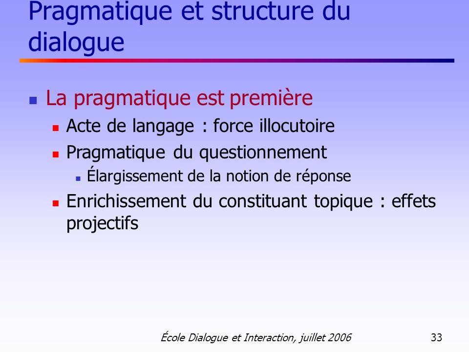 École Dialogue et Interaction, juillet 2006 33 Pragmatique et structure du dialogue La pragmatique est première Acte de langage : force illocutoire Pr