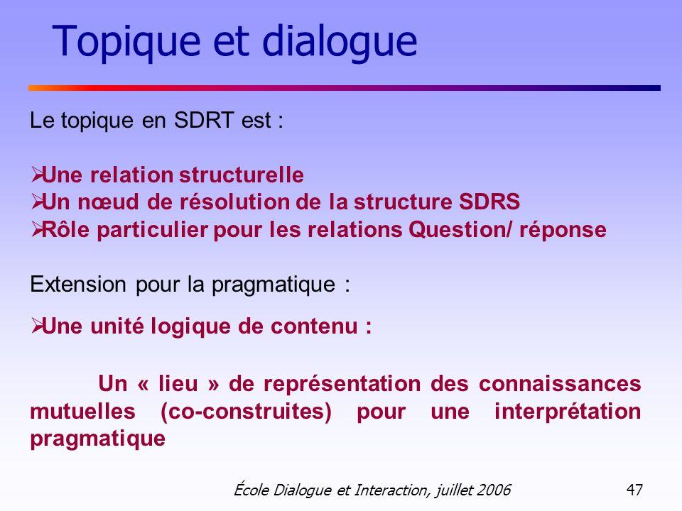 École Dialogue et Interaction, juillet 2006 47 Topique et dialogue Le topique en SDRT est : Une relation structurelle Un nœud de résolution de la stru