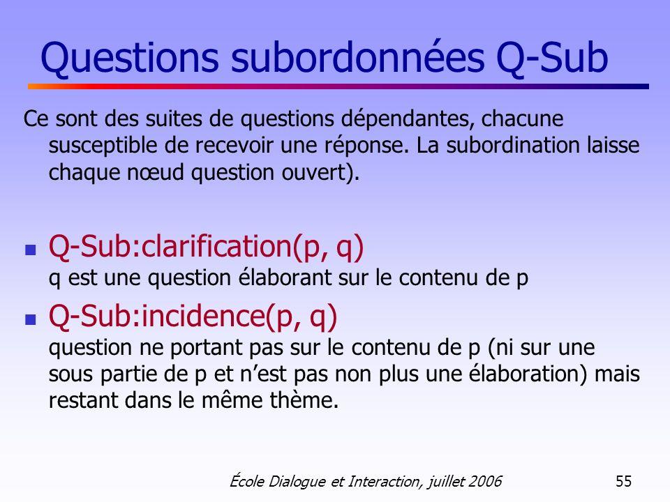 École Dialogue et Interaction, juillet 2006 55 Questions subordonnées Q-Sub Ce sont des suites de questions dépendantes, chacune susceptible de recevoir une réponse.
