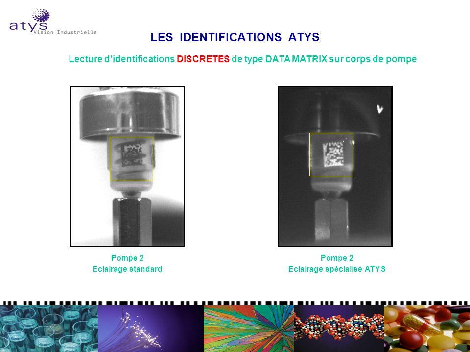 LES IDENTIFICATIONS ATYS Lecture didentifications DISCRETES de type DATA MATRIX sur corps de pompe Pompe 2 Eclairage standard Pompe 2 Eclairage spécialisé ATYS