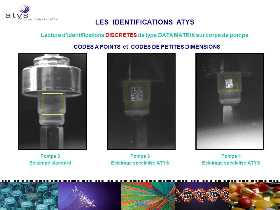 LES IDENTIFICATIONS ATYS Lecture didentifications DISCRETES de type DATA MATRIX sur corps de pompe Pompe 3 Eclairage standard Pompe 3 Eclairage spécia