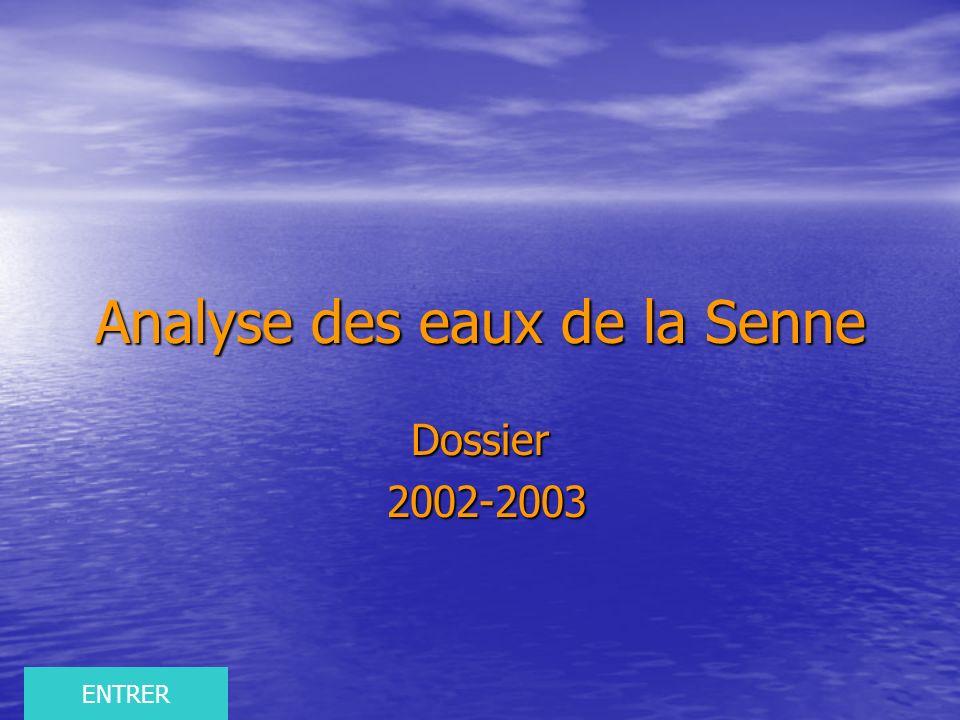 Analyse des eaux de la Senne Dossier 2002-2003 2002-2003 ENTRER
