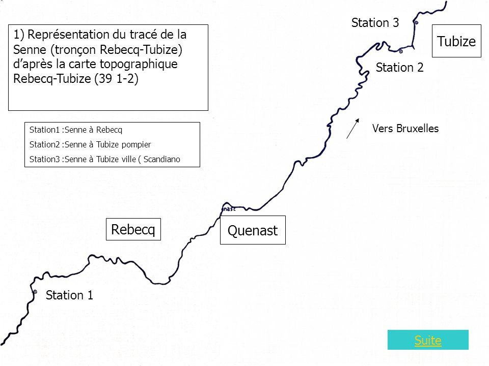 Carte 3 1) Représentation du tracé de la Senne (tronçon Rebecq-Tubize) daprès la carte topographique Rebecq-Tubize (39 1-2) Station 1 Station 2 Station 3 Station1 :Senne à Rebecq Station2 :Senne à Tubize pompier Station3 :Senne à Tubize ville ( Scandiano ) Rebecq Tubize Quenast Vers Bruxelles Suite