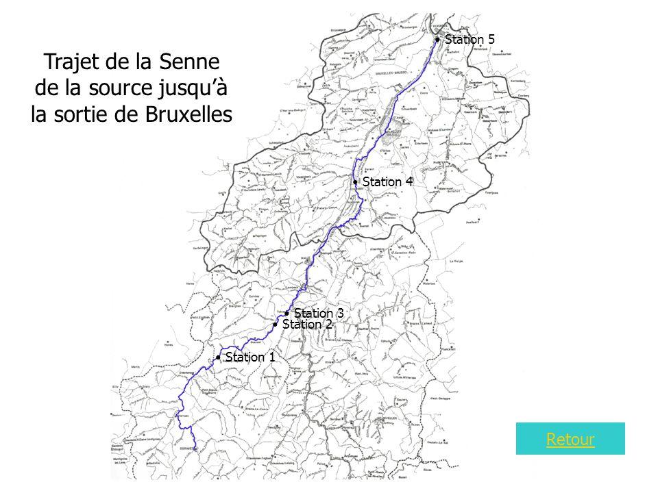 Carte 4 Trajet de la Senne de la source jusquà la sortie de Bruxelles Station 1 Station 2 Station 3 Station 4 Station 5 Retour