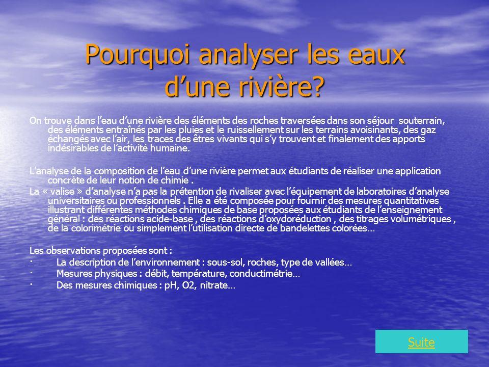Pourquoi analyser les eaux dune rivière.