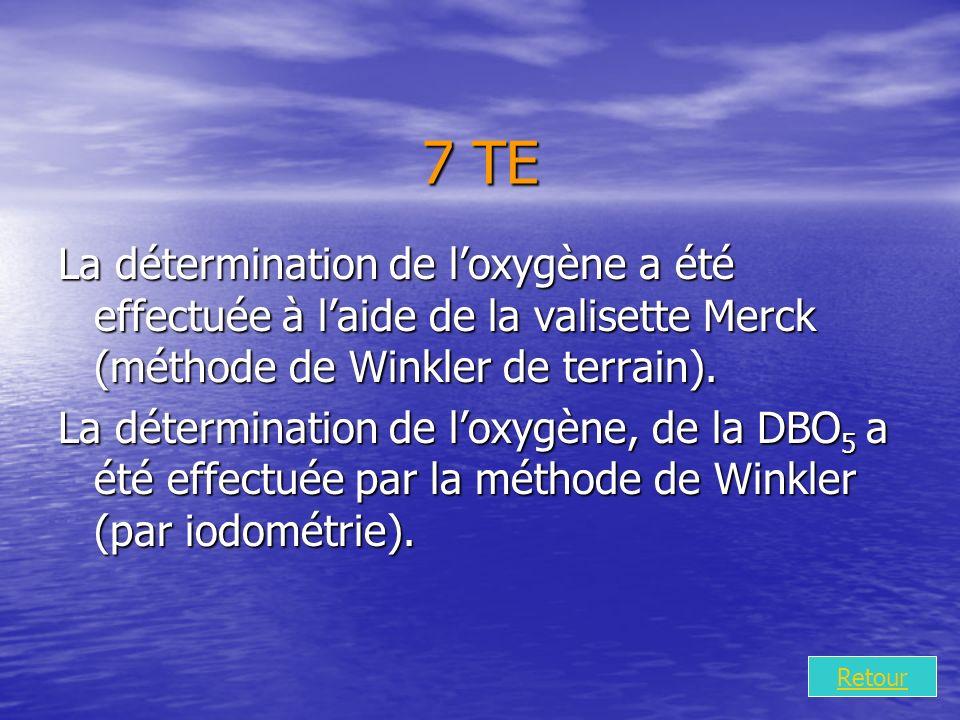 7 TE La détermination de loxygène a été effectuée à laide de la valisette Merck (méthode de Winkler de terrain).